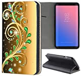 Huawei P8 Lite 2015 Hülle Premium Smart Einseitig Flipcover Hülle P8 Lite 2015 Flip Case Handyhülle Huawei P8 Lite 2015 Motiv (1375 Abstract Smaragd Grün Gold Farben)