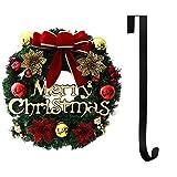 Ghirlanda di Natale 36cm con Natale Ciondoli in Metallo Corona Appendino Gancio Festival Ghirlanda Hanging Decoration Home (Wine+Hook)