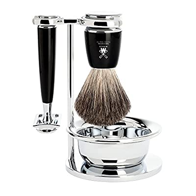 Mühle Shaving Set - 4 Piece - Pure Badger Hair / Safety Razor - RYTMO Series - Resin Handle, Black