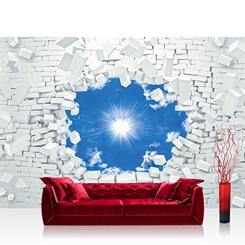 Fototapete 368x254 cm PREMIUM Wand Foto Tapete Wand Bild Papiertapete - Steinwand Tapete Steinoptik Stein Durchbruch Himmel Sonne Wolken weiß - no. 2990