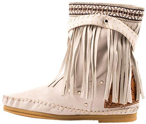 Elara Fransen Stiefeletten | Damen Indianer Style | Western Schnalle Hidden Wedge Beige