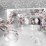 FORWALL Fototapete Vlies - Tapete Moderne Wanddeko 3D Magischer Tunnel mit Blumen V8 (368cm. x 254cm.) AMF3360V8 Wandtapete Design Tapete Wohnzimmer Schlafzimmer
