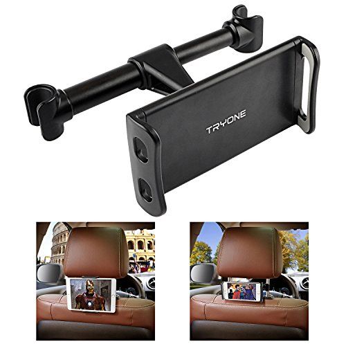 Tryone Soporte Tablet Coche, Soporte Reposacabezas Coche - Soporte para Tablet Móvil iPad/Samsung Galaxy Tabs/Amazon Kindle Fire HD/Nintendo Switch/Otros Dispositivos de 4.7-10.5 Pulgadas (Negro)