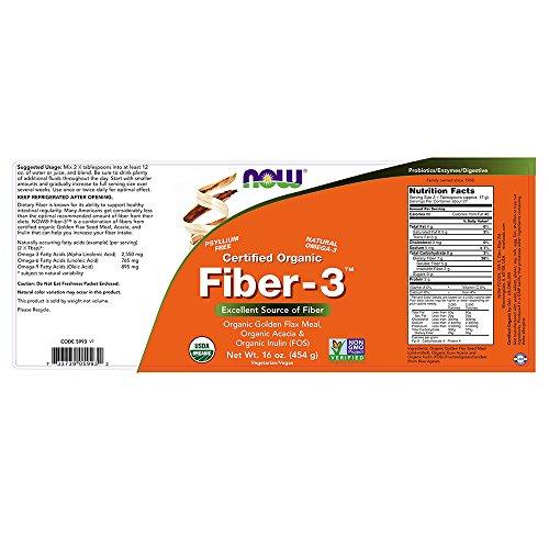 Now Foods Organic Fiber-3, 1-Pound