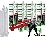 Den Braven Kombiset 10x 2K-Portex Zargenschaum á 210ml + 2K Pistole DM21-Metall