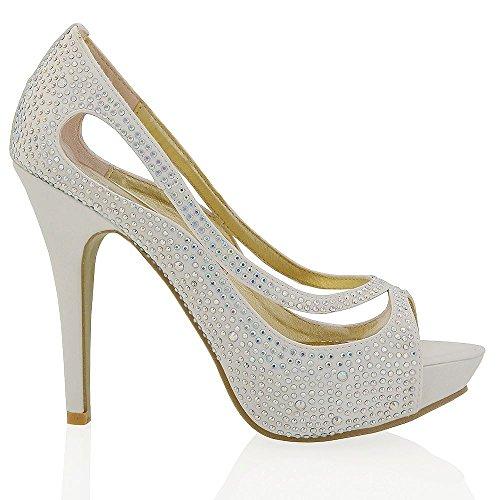 Essex glam scarpa sposa peep toe avorio satinato diamante tacco alto plateau eu 38