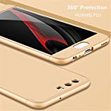 HUAWEI P10 case 360 Degree Protection Gold Matte Ultra Slim Cover PC Hard Case Body Protection Scratchproof Cover 3 in 1.DECHYI case -Gold