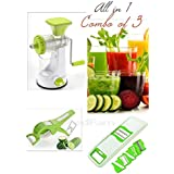 SELL ON Kitchen Combo Of 3-Manual Juicer With Steel Handle, 6 In 1 Multi-Purpose Slicer & 2 In 1 Multi Veg Cutter With Peeler, Green