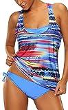 Bettydom Maillot de Bain Tankini 3 Pièces avec Gilet Sans Manches de Corps Eté Bikini Plage Fleuri Multicolore