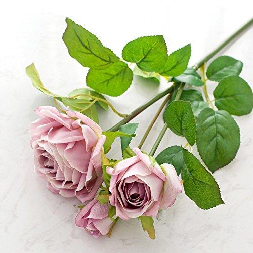 Künstliche Rose Blumen Gefälschte 3 Köpfe Seidenstoff Blumen Hochzeit Bouquet Blumenarrangement Für Home Decor Party Floral Mittelstücke Dekor (Farbe : Pink - Kopf-tisch-mittelstücke