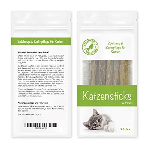 Forck Katzenminze Katzenspielzeug 5 Sticks, unsere Matatabi-Kausticks unterstützen die natürliche Zahnpflege und helfen bei Zahnstein & Mundgeruch - 4