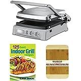 Cuisinart GR-150 Griddler Deluxe en inoxidable cepillado w/125 mejor uso en interiores parrilla recetas y HDS Trading CB01008 8 x 12 de bambú tabla de cortar de bambú acabado