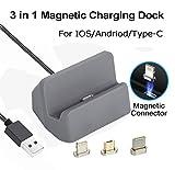 Stazione di ricarica per caricabatterie magnetico, 3 in 1 Micro USB e Lightning & Type-C, Caricabatterie Auswaur Base docking station Ricarica per iPhone X 8 7 6 6s Plus Samsung Galaxy S6 S7 S8 Plus (Grigio)