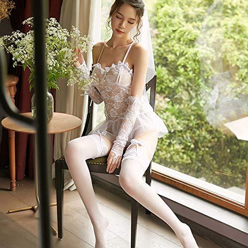 Brautkleid Dessous (ESZH Sexy Dessous Sexy Dessous Damen Rollenspiele Spitze Uniform Perspektive Versuchung Sexy Braut Brautkleid Set Universalgröße Schwarz Und Weiß,2)