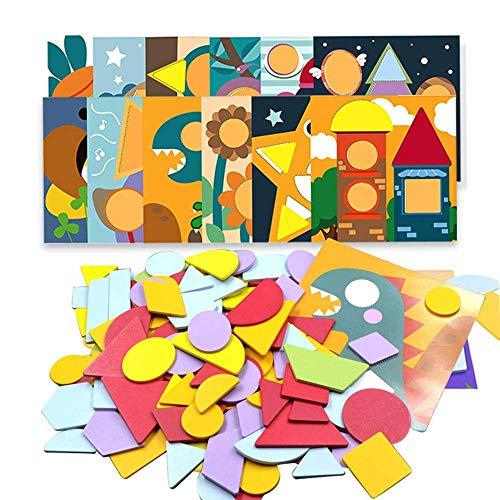 Musterblöcke Geometrie-Puzzlespiele Klassisches Lernspielzeug mit 120 geometrischen Formteilen und 12 Bildkarten für Kinder Jungen Mädchen ()