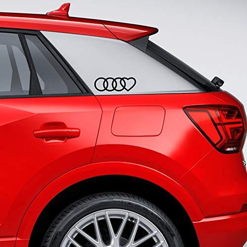 Autodomy Kompatibel mit Audi Reifen Herz Aufkleber Paket 2 Stück für Auto (Schwarz)