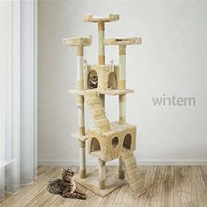 Tiragraffi da 170Cm con Cuccia per Gatti Albero Parco giochi gioco tira graffi per Gatto [Beige] - Wintem