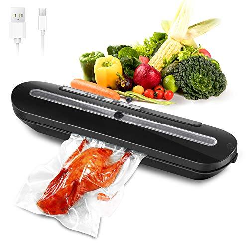 Zuzpao Envasadoras al Vacio Domesticas, Recargable Portátil por USB Selladora al vacio con 10pcs Bolsas de Vacío y 1 Tubo Manguera de Vacío