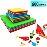 Papel de Origami - 600 Hojas de Origami Papiroflexia Papel Colores Papeles Origami para DIY Manualidades Proyectos