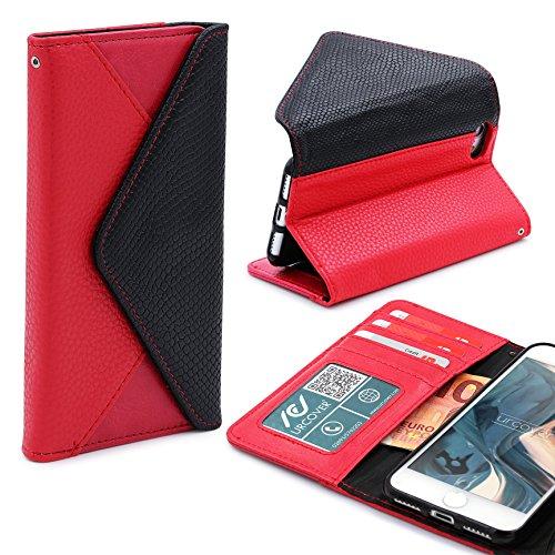 iPhone 7 / 8 Hülle, Urcover® Crocodile Portmonee Edition Handyhülle Schutz mit Karten- & Geldfach Case Cover Etui Wallet für Apple iPhone 7 / 8 Braun Rot