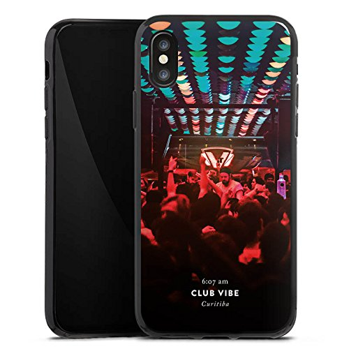 Apple iPhone X Silikon Hülle Case Schutzhülle Party House Techno Silikon Case schwarz