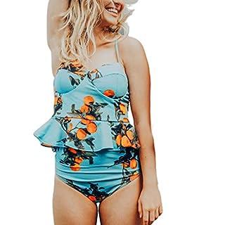 Womens Bikini Set,Tankini Women Bandage Bikini Set Sexy Women Swimsuit Push-up Padded Bra Striped Printed Ruffles Swimwear Jumpsuit Swimsuit Beachwear (XL, Blue)