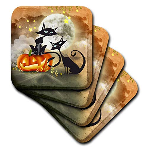 (3dRose MILAS Art Halloween 2014–Halloween Zwei Katzen ist, EIN Furchterregendes Geschichte sind, Untersetzer, Gummi, set-of-4-Soft)