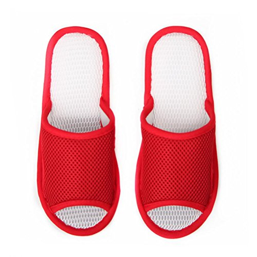 Mhgao pantofole da donna in maglia, casual Home interior pavimento antiscivolo pantofole Red