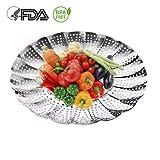 LinTimes Dünsteinsatz, Edelstahl Dämpfeinsatz Dämpfkorb für Kochtöpfe Faltbarer Gemüsedämpfer von 14 bis 23 CM, Spülmaschinengeeignet