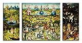 1art1 59091 Hieronymus Bosch - Der Garten Der Lüste, 1500, 3-Teilig Leinwandbild Auf Keilrahmen 130 x 70 cm