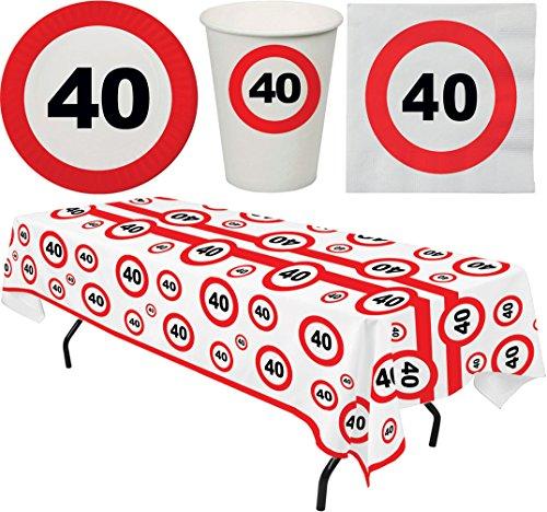 Karneval-Klamotten Tisch Deko Geburtstag 40 Party-Geschirr Teller Becher Servietten 8 Personen und Tischdecke Party Set 33 Teile