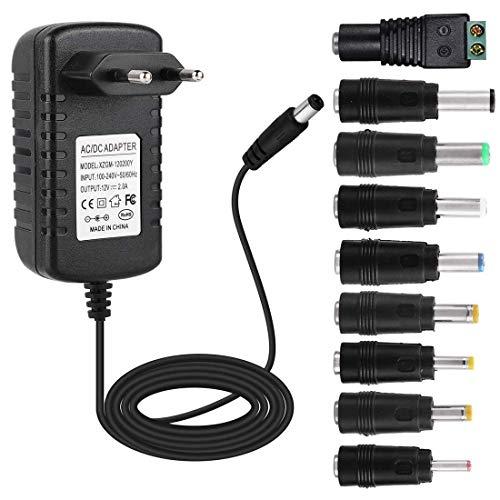 EFISH DC-Netzteil 12V 2A,AC 100-240V bis DC 12V Netzkabel tragbares Ladegerät für LED-Streifen,Fischbecken,Radiowecker,Scanner,Schalter,Router,Lautsprecher,T-Com,Speedport+9 Verschiedene Adapterköpfe