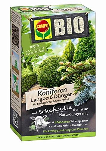 COMPO BIO Koniferen Langzeit-Dünger mit Schafwolle, einzigartiger, rein organischer Langzeitdünger für Koniferen, Nadelgehölze und alle immergrünen Hecken und Sträucher (z.B. Kirschlorber), 2 kg