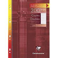 Clairefontaine 47122C - Un étui carton de 200 pages Copies doubles perforées blanches 21x29,7 cm 90g petits carreaux avec marge
