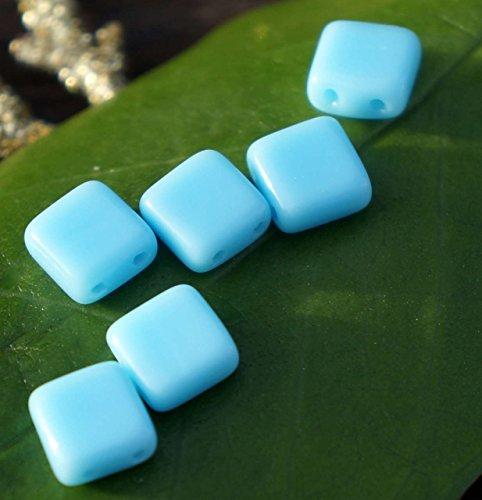 Blaue Quadrat Glasperlen Blau Zwei-Loch-Tschechische Glasperlen Tschechischen Fliesen Perlen Tschechische Glas Fliesen Perlen Czechmate Fliesen-Perlen 6mm 16pc (Fliesen Versorgt)
