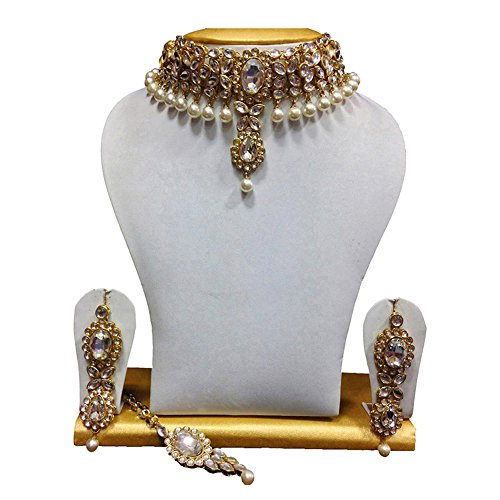 Shining Diva Kundan Pearl Choker Traditional Necklace Jewellery Set with Earrings for...