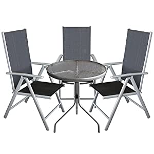 4tlg bistrogarnitur bistrotisch glastisch 60cm 3x hochlehner klappstuhl 7. Black Bedroom Furniture Sets. Home Design Ideas