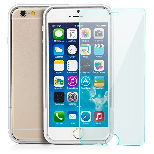 Saxonia Aluminium Bumper + Panzerglas iPhone 6 6S Slim Alu Case Schutz Hülle Rahmen Gold Silber