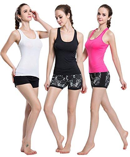 Campeak Damen Workout Compression Dry Fit Raceback Tank Tops - Schwarz - Large -