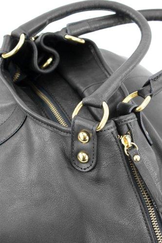 ital. Tragetasche Schultertasche Handtasche Echt Leder Damen Tasche T29 Schwarz