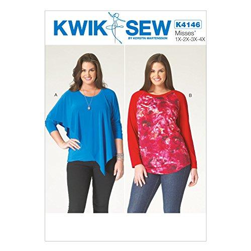 Kwik Sew Mustern k4146OSZ 1x/2x/3x/4x große Damen-Tops, Mehrfarbig - 1/2-Ärmel-rollkragen