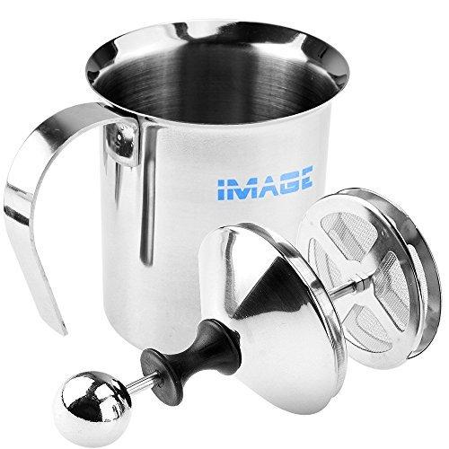 Image®400ML acier inoxydable Maille Double Fouets à lait Mousseur a Lait Lait Creamer