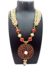 ShreeVari Fashion Gold Plated Multicolour Brass Traditional Kathyawadi Necklace Set With Earrings For Women
