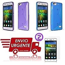 OFERTA 2 Fundas de Gel TPU diseño S Line para Huawei Honor 4C / G Play Mini color AZUL Y MORADO + 2X PROTECTORES DE PANTALLA - Envio por mensajeria URGENTE