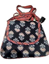 Srijanavari Handmade Designer Embroidered Rajasthani Clutch Bag For Women's(blue And Red)