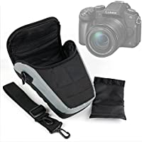 Ultra-Portable DSLR Camera Carry Case with Shoulder Strap in Black & Grey for Panasonic Lumix DMC-G80 | DMC-G85 Camera - by DURAGADGET