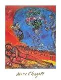 Marc Chagall Poster Kunstdruck Bild Verliebtes Paar auf roten Hintergrund 60x80cm - Kostenloser Versand