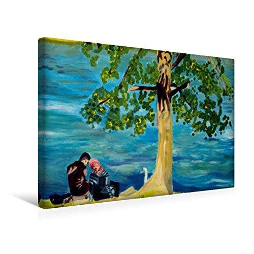Calvendo Premium Textil-Leinwand 45 cm x 30 cm Quer, Romanze am Rhein   Wandbild, Bild auf Keilrahmen, Fertigbild auf Echter Leinwand, Leinwanddruck: Ölmalerei von Margarita Siebke Menschen Menschen