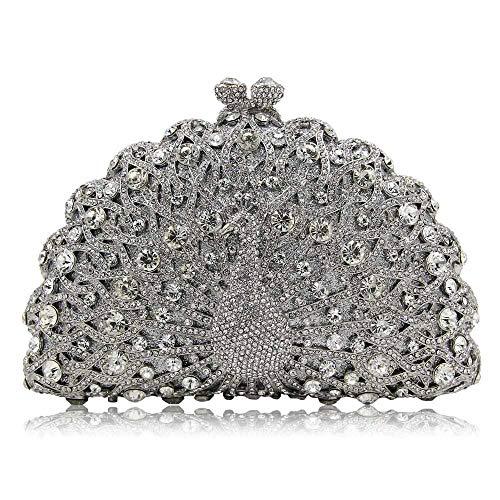 FFLLAS Damen Clutch Bag Abendtasche Pfau Typ Full Diamond Crystal High-End Luxus Prom Handtasche,6 -