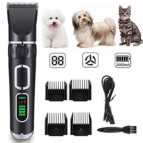 LOVEhome Schermaschine, Tierhaarschneider,geräuscharme leise Hundepflege-Schermaschinen mit LED-Bildschirm,wiederaufladbare USB-Hundeschermaschinen mit 4 Kammführungen und Reinigungsbürste,Schwarz